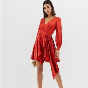 Satin long sleeve rust colored dress w/open back